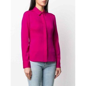 THEORY Stretch Silk Blend Button Fitted Shirt Pink